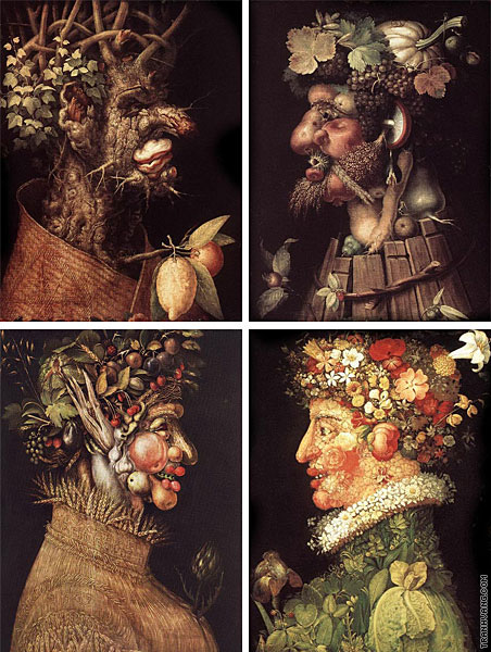 Quadriptych 4 seasons (Arcimboldo)