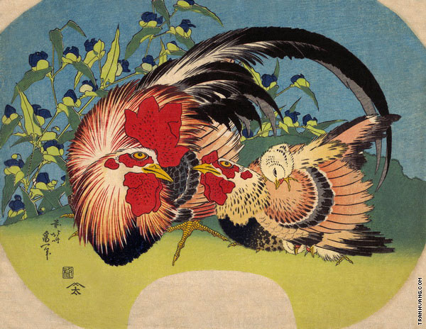Rooster Hen and Chicken with Spiderwort (Hokusai)