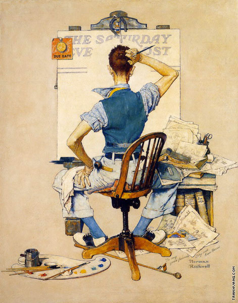 Artist Facing Blank Canvas - Deadline (Rockwell)