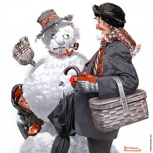 Gramps and the Snowman (Rockwell)