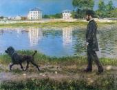 Richard Gallo and His Dog at Petit Gennevilliers (Caillebotte)