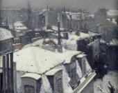 Rooftops in the Snow - Snow Effect (Caillebotte)
