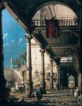 Capriccio with Colonnade in the Interior of a Palace (Canaletto)