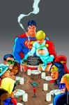 The Thanksgiving of Justice League (after Rockwell)