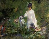 Young woman among the flowers (Manet)
