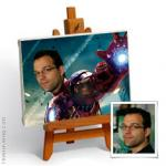 Hand-painted photo portrait into IRON MAN 3