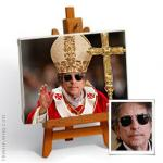 Hand-painted photo portrait into POPE