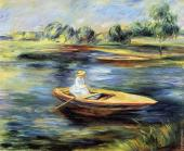 Young woman seated in a rowboat (Renoir)