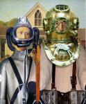 American Gothic with Diving-Suit (After Wood)