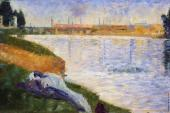 Bathing at Asnieres - Clothing on the Grass (Seurat)