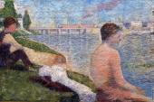 Bathing at Asnieres - Seated Bather (Seurat)