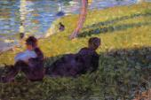 La Grande Jatte - Seated Man - Reclining Woman (Seurat)
