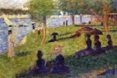 La Grande Jatte - Woman Fishing and Seated Figures (Seurat)