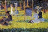 Woman Seated and Baby Carriage (Seurat)