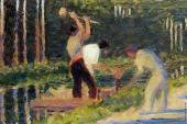 Men Laying Stakes (Seurat)