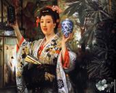 Young Lady Holding Japanese Objects (Tissot)