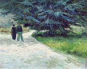 Public Garden with Couple and Blue Fir Tree (Van Gogh)