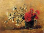 Vase with red and white Carnations on a Yellow Background (Van Gogh)