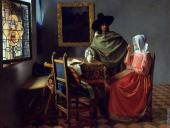 A lady drinking and a gentleman (Vermeer)