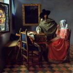 A lady drinking and a gentleman* (Vermeer)