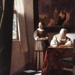 Lady writing a letter with her maid (Vermeer)
