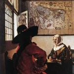 Officer with a laughing girl* (Vermeer)